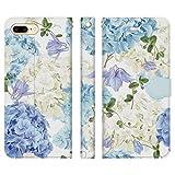 Ruuu iPhone7Plus iPhone8Plus 兼用 手帳型 スマホ ケース カバー 紫陽花 ボタニカル ブルー 花柄 あじさい はな 蝶々 フラワー ブーケ フェミニン おしゃれ 可愛い かわいい 大人かわいい フローラル お洒落 ユニーク 個性的 白 ホワイト