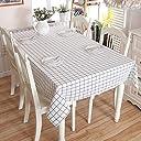Purzest 北欧 テーブルクロス テーブルカバー 綿麻 耐熱 防油 厚手 コットンリネン 格子縞 ホワイト(140 180)