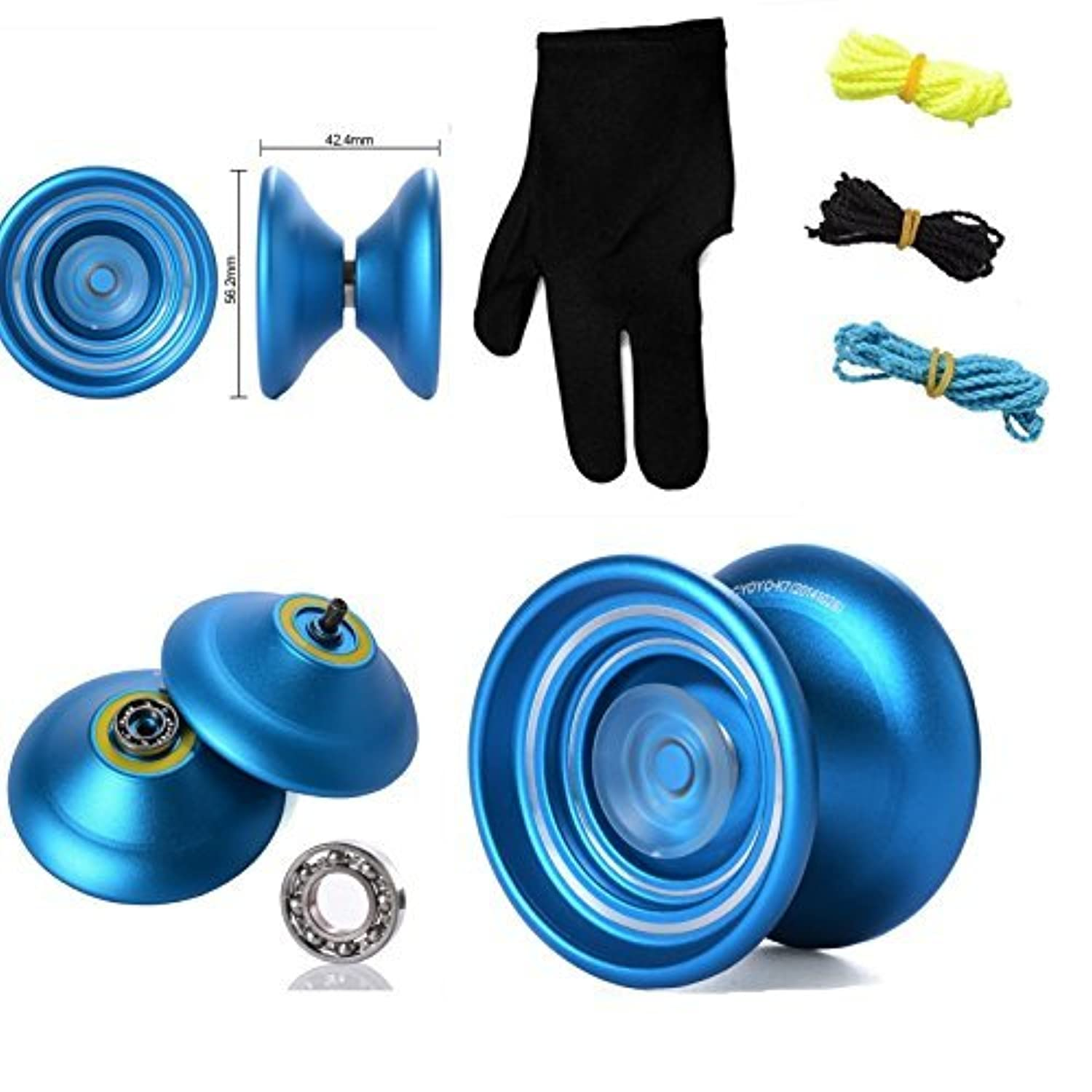 Responsive Aluminum Metal Yoyo MAGICYOYO K7 for Beginners -Blue+ Glove+3 Strings [並行輸入品]