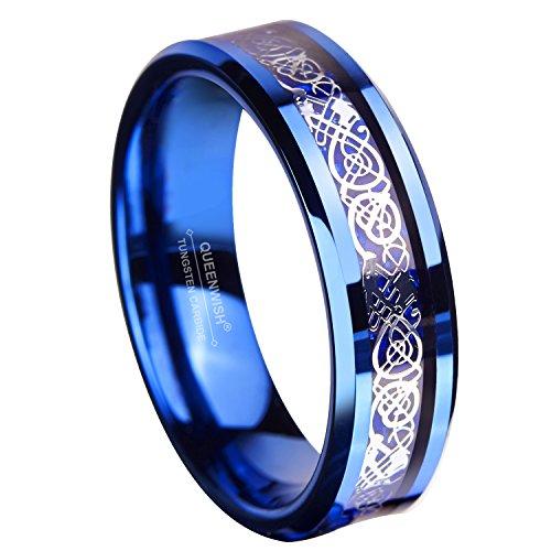 [해외](퀸 위시) Queenwish 6mm 블루 텅스텐 반지 실버 반지 셀틱 드래곤 블루 탄소 섬유 상감 결혼 반지 사이즈 6 ~ 13 (미국 사이즈)/(Queen Wish) Queenwish 6mm Blue Tungsten Ring Silver Ring Celtic Dragon Blue Carbon Fiber Inlay Wedding Ring S...