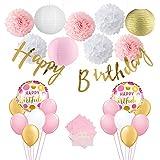 パーティー飾り付け ピンクゴールド happy birthdayバナー ラウンドバルーン 女の子 子供 誕生日パーティー 100日お祝いパーティー飾り 部屋飾り付け 62枚セット