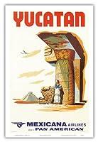 ユカタンメキシコ - マヤ遺跡 - メキシカーナ航空CMA - パンアメリカン航空のアフィリエイト - ビンテージな航空会社のポスター c.1960s - アートポスター - 31cm x 46cm