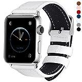 全7色 Apple Watch バンド ベルト Fullmosa Apple Watch Series 1 Series 2 バンド 本革レザー ベルト交換用ラグ付き アップルウォッチ ホワイト42mm