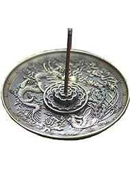 [RADISSY] お香立て 香炉 香皿 スティック 円錐 タイプ お香 スタンド 龍のデザイン (青銅色5穴)