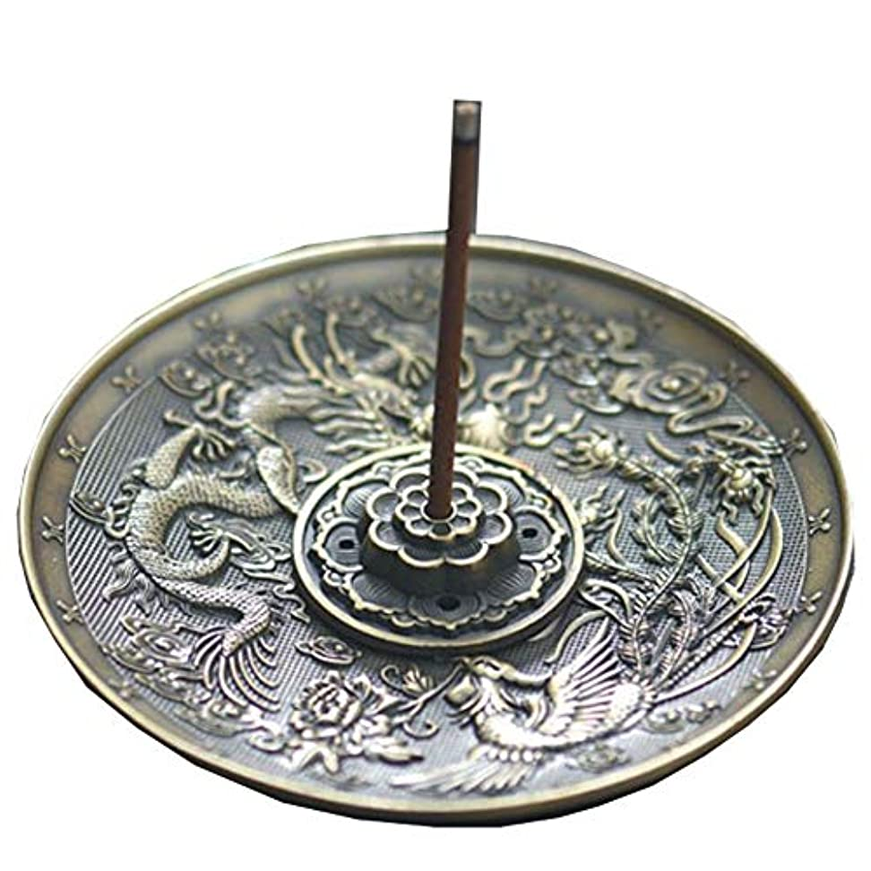 可愛い内なるズボン[RADISSY] お香立て 香炉 香皿 スティック 円錐 タイプ お香 スタンド 龍のデザイン (青銅色5穴)