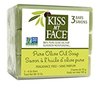 Kiss My Face, Pure Olive Oil Soap, Fragrance Free, 3 Bars, 4 oz Each