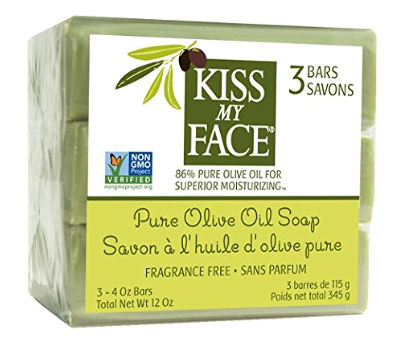 忌み嫌うドライブ隙間Kiss My Face, Pure Olive Oil Soap, Fragrance Free, 3 Bars, 4 oz Each