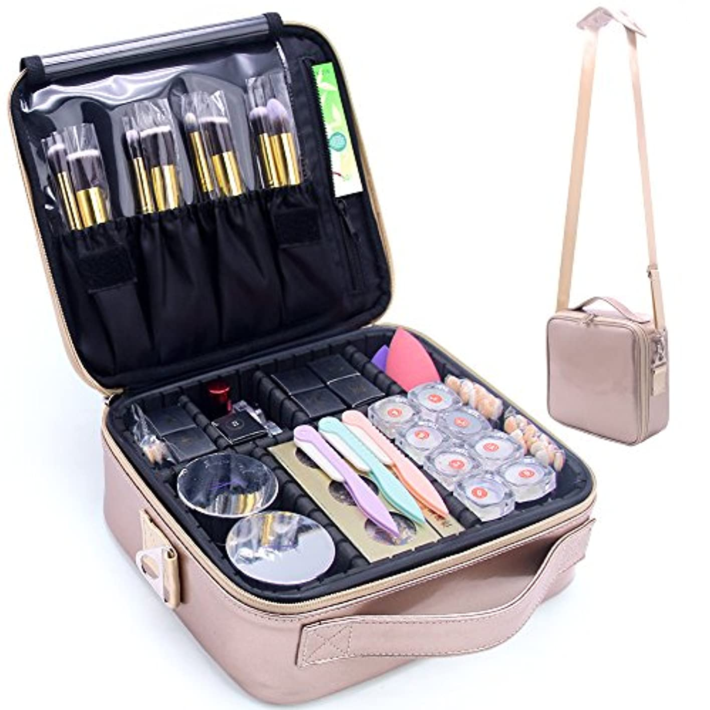 TANTO 化粧トラベルケース化粧ポーチトレインケース 調節可能 ショルダーストラップと化粧品ジュエリーエレクトロニクス 用 主催者およびストレージを構成します ローズゴールド