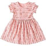 キッズ服 ドレス Jopinica 6ヶ月~13歳 ストライプ 半袖ラウンドネッワンピース ピンク?ブラウンプリンセスドレス おしゃれベビー服 プレゼント ファッション