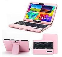 【マーサ・リンク】 Galaxy Tab 4 10.1/SM-T530用 PUレザー ケース付 分離式 Bluetooth 3.0 ワイヤレス キーボード スタンド機能(ホワイト、ピンク)2カラー選択 (ピンク)