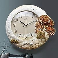 ラウンドクラシック時計リビングルームクリエイティブステレオサイレントモダン装飾壁掛け時計ファッション風景壁の装飾 ホームデコレーション時計 (Color : Orange, サイズ : 45x48cm(18x19inch))