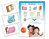 Bedroom Flashcards in English with Matching Bingo Game Cards in One Set - Vocabulary Picture Cards for Babies, Toddlers, Kids and Children - Size 4.13 × 5.83 in - DIN A6