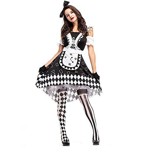 ファションヤ ハロウィン コスプレ衣装 ピエロ コスチューム 5点セット サーカス ハロウィン ゾンビ 魔女 ホラーのお祭り 学園祭 文化祭 大学祭 パーティー 白黒 (XL)
