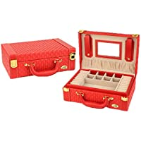VPbao Women Simple Leather Two-Layer Jewellery Box with Lock Storage Case