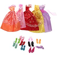 【ノーブランド品】 バービー人形用 可愛い ドール ドレス(5個) シューズ 靴(10ペア) アクセサリー