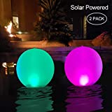 """Floating Pool Lights Inflatable Waterproof IP68 Solar Glow Globe,14"""" Outdoor Pool Ball Lamp 4 Color Changing LED Night Light, Party Decor for Swimming Pool,Beach,Garden,Backyard,Lawn,Pathway - 2 Pack"""