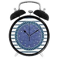 ネイビーブルーオーシャンロープの目覚まし時計連続秒針 ナイトライト付 大音量 置き時計 電池式 明かり 光る 最高の贈り物 4インチ