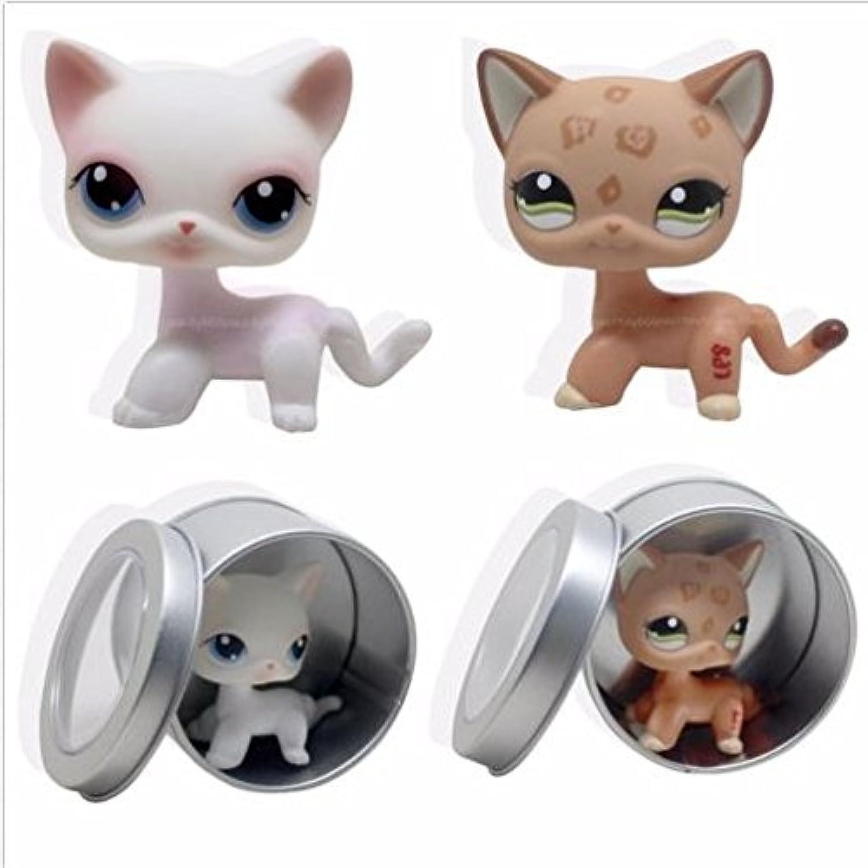 2pcs LittlestペットショップRareホワイト&タンショートヘア猫Kitty LPS # 1120 # 64