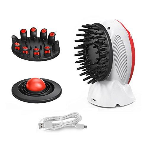 EVERTOP 電動頭皮ブラシ 三つのブラシ付き(ヘアケア、頭皮マッサージ、頭皮洗浄)防水 USB充電式 頭皮マッサージ器(レッド)