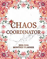 Chaos Coordinator 2020-2024 Monthly Planner: Five Year Elegant Floral Marble Monthly Schedule Agenda & Organizer | Pretty 5 Year Calendar with Inspirational Quotes, To-Do's, Holidays, Vision Board & Notes