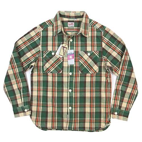 (ヒューストン)HOUSTON マチ付 長袖 チェック ヘビーネルシャツ 40108 L BEIGE×GREEN(ベージュ×グリーン系)