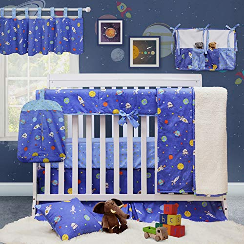 Brandream Baby Boys Crib Bedding Set Galaxy Space Bedding 100% Soft Cotton Blue Baby Bedding Crib Set with Crib Rail Cover, 9 Pieces