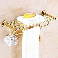 ヨーロッパの銅折り畳みタオルラック/金のフックタオルラック/バスルームの銅のハードウェアのペンダント