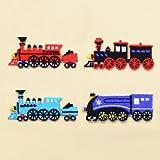 COLORFUL探検 アイロン刺繍ワッペン おしゃれな機関車セット 4個セット N6640100