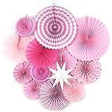 SUNBEAUTY ペーパーファン 星 バレンタイン/結婚式/誕生日/ベビーシャワー 飾り付け セット 写真背景 (ピンク 13点セット)