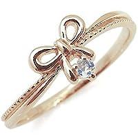 プレジュール ロイヤルブルームーンストーン リング リボン K10ピンクゴールド 指輪 一粒 リング ファランジリング リングサイズ9号