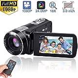 ビデオカメラ デジタルカメラ カムコーダー フルHD 18Xデジタルズームナイトビジョンビデオ、液晶と270度の回転画面リモートコントロール付き  …