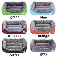 FidgetGear フリースの裏地が付いている厚いデラックスで柔らかい洗える犬ペット暖かいバスケットベッドのクッション 緑
