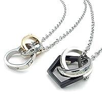 [テメゴ ジュエリー]TEMEGO Jewelry レディースメンズ2個ステンレス鋼のカップルの恋人ヴィンテージラウンドサークルペンダントハート愛のネックレスセット、20および23インチチェーン、ブラックシルバーゴールデン[インポート]