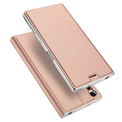 Xperia xz ケース 手帳型 薄型 軽量 耐衝撃 耐摩擦 高級PUレザー 財布型 マグネット スタンド機能 付き スマホケース 人気 おしゃれ ケース (Xperia xz, ローズゴールド)