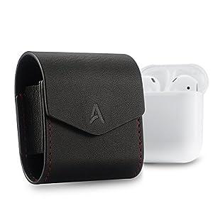 Airpodsケース[アップグレードバージョン] ahastyleプレミアム本革マグネット開閉フリップカバーfor AppleワイヤレスイヤホンAirpods AS008