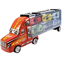 TukTek Kids First Toy Semi Truck Car Carrier w/ 6 Sportscars & Room for 6 More for Boys & Girls