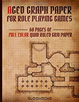 Aged Graph Paper for Role Playing Games: 60 Blank pages of Full Color Quad Ruled Grid Paper | Stained Antique Map Look | 1/4 inch Squares Edge-to-Egde Grid (RPG Arsenal)