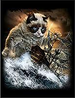 【船を襲撃する ペルシャ猫 ねこ】 余白部分にオリジナルメッセージお入れします!ポストカード・はがき(黒背景)