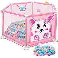 ヘキサゴンベビープレイペンボール付きアンチロールオーバーピンクルームデバイダ遊びペン、女の子、安全屋内保育園キッズプレイフェンス (色 : 205 balls, サイズ さいず : S s)