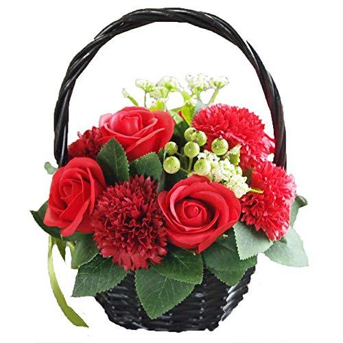 ソープフラワー 花かご レッド シャボンフラワー 造花 アーティフィシャルフラワー アレンジメント 枯れない 花 誕生日 お見舞い 御礼 母の日 還暦 古希 カゴ 花 バラ カーネーション 赤