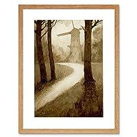 William Timlin Windmill In The Woods Framed Wall Art Print ウィリアム・ティムリン木材壁