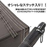小宮商店 風に強い 新耐風自動開閉傘 折り畳みJP式 ステッチ入り 1年保証つき(黒)