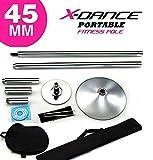 X-Dance ポールダンス用ポール クローム 45 mm スタティック スピニング ポール ポールダンサー 練習用 トレーニン……