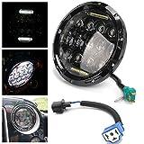【HOZAN照明】7インチ丸型75W LED ヘッドライト デイタイムランニングライト付き Harley Davidson対応 最新型Hi/Lo 切り替え ブラック パトロールy60//スズキジムニー//ジープ・ラングラー//ハマーH2//ランドローバーディフェンダー対応 1個 1年間保証付き - 4,880 円