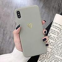 POHONOEOO カップルゴールドラブハートキャンディーカラーケースのためのiphone xr x xs最大6 6 s 7 8プラスかわいい固体柔らかいシリコーンマット裏表紙