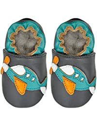 Kimi + Kai Kids Soft Sole Leather Crib Bootie Shoes - Fly Away