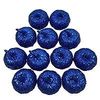 SharringパーティーテーブルまたはDIYクラフトハーベストハロウィン感謝祭の飾りのための12個の人工ミニメタリックグリッタースパンコールカボチャ(色:Rb) [並行輸入品]