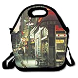 IACC お弁当 Street Corner Paris Cafe Neoprene Lunch Picnic Bag Insulated Lunch Box Waterproof Lunch Tote with Zipper Strap for Women Kids Boys Girls and Men
