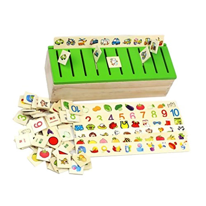 【ノーブランド品】 木製 ソートボックス 80個入り はめこみ 図形 動物 知育玩具 ギフト