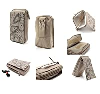 DFV mobile - Multi-functional Vertical Stripes Pouch Bag Case Zipper Closing Carabiner for => SONY Xperia M4 Aqua > BEIGE (16 x 9.5 cm)